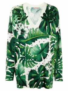 Twin-Set tropical print knitted top - Green
