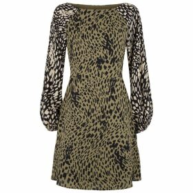 Traffic People Audrey Two Tone Polka Dot Mini Dress In Green And Black