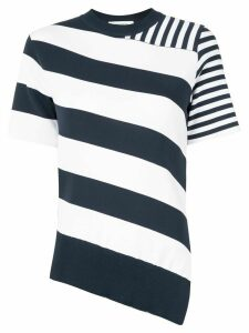 Cédric Charlier striped asymmetrical knit top - White
