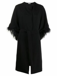 P.A.R.O.S.H. feather-embellished belted coat - Black