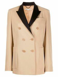 Stella McCartney contrast-lapel double-breasted jacket - NEUTRALS