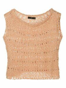 Voz open knit crop top - Brown