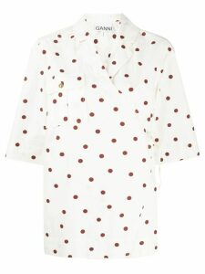 GANNI polka-dot wrap-front shirt - NEUTRALS