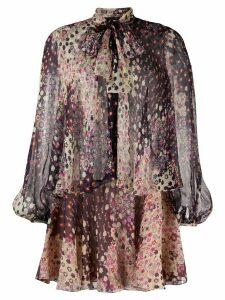 Dsquared2 floral-print tiered short dress - NEUTRALS