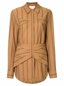 Acler Logan striped corset-waist shirt - Brown