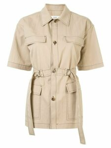 G.V.G.V. crinkled trench-shirt - Brown