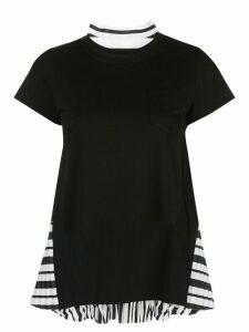 Sacai pleat detail T-shirt - Black