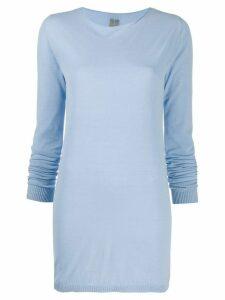 Rick Owens rolled-edge longline sweater - Blue