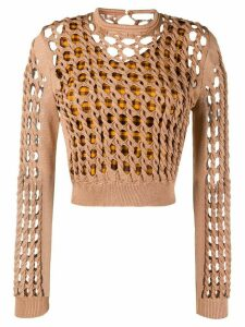 Fendi interlock knit cropped jumper - Brown