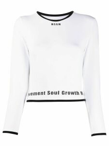 MSGM cropped long-sleeved lettering top - White