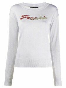 Frankie Morello crystal-embellished crew neck jumper - Grey
