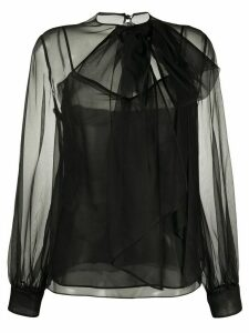 Valentino sheer neck bow blouse - Black