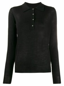 Nuur fine knit sheer style polo top - Black