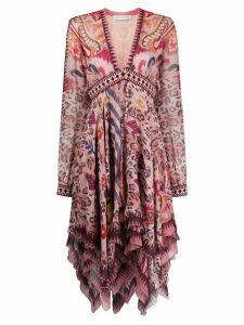 Etro abstract leopard print dress - PINK