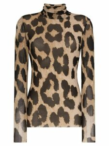 GANNI leopard print sheer top - Brown