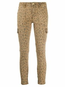 FRAME leopard-print cropped cargo skinny jeans - NEUTRALS