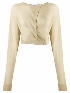 Lemaire long sleeve draped front top - NEUTRALS