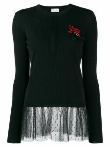 RedValentino I have a crush on you embroidered jumper - Black