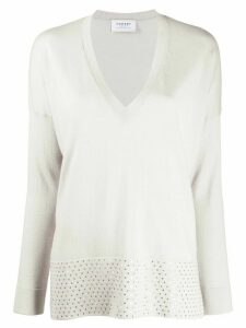 Snobby Sheep deep V-neck sequin embellished jumper - Grey