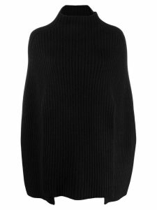 Pringle of Scotland ribbed knit poncho-sweater - Black