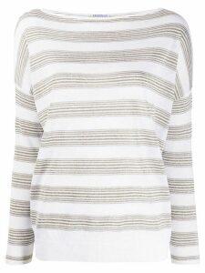 Brunello Cucinelli striped boat-neck jumper - White