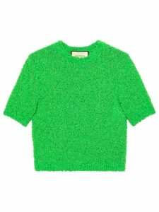 Gucci round neck bouclé top - Green