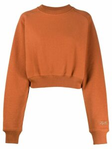 Reebok x Victoria Beckham logo cropped sweatshirt - ORANGE
