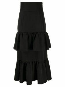 Sara Battaglia tiered ruffle maxi skirt - Black
