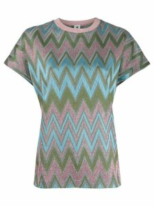 M Missoni glittered chevron-knit top - Blue
