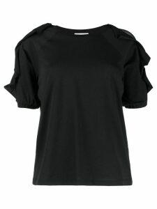 RedValentino ruffled sleeve T-shirt - Black
