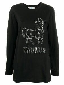 Alberta Ferretti Taurus embellished long sleeve top - Black