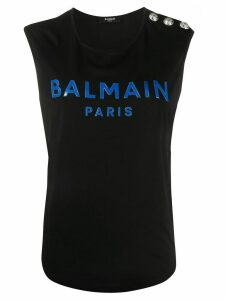 Balmain logo tank top - Blue