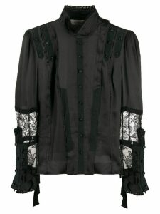 A.F.Vandevorst lace-detail fitted blouse - Black