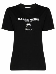 Marine Serre embroidered logo T-shirt - Black