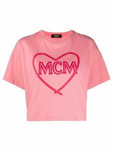 MCM cropped logo T-shirt - PINK