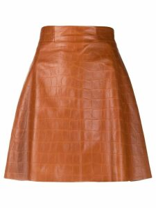 Drome mock crock skater skirt - Brown