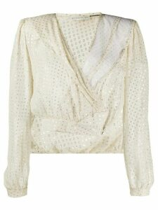 Etro cropped wrap style blouse - NEUTRALS