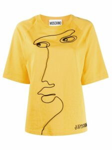 Moschino embroidered face detail T-shirt - Yellow