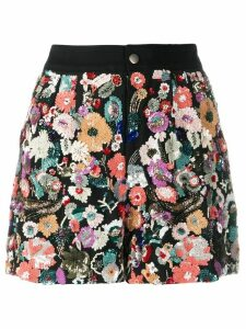 Etro floral sequin embroidery shorts - Black