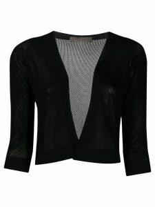 D.Exterior mesh knit cropped cardigan - Black