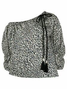 Pinko asymmetric leopard print top - Black