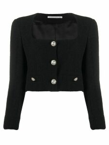 Alessandra Rich cropped bouclé jacket - Black