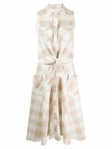 Sara Roka sleeveless checked shirt dress - White