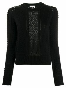 See by Chloé lace panelled textured knit jumper - Black