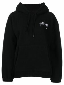 Stussy embroidered logo fleece hoodie - Black