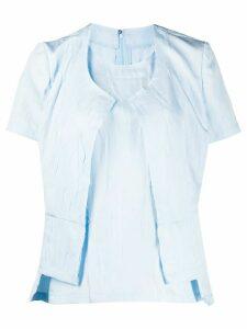 Comme Des Garçons layered style distressed detail blouse - Blue