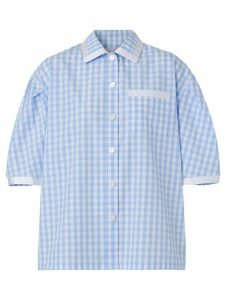 Burberry puff-sleeve gingham shirt - Blue