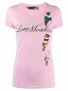 Love Moschino embellished ice cream T-shirt - PINK