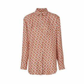 Burberry Monogram Print Silk Oversized Shirt