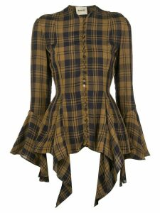 Khaite flared cuff checked print blouse - Brown